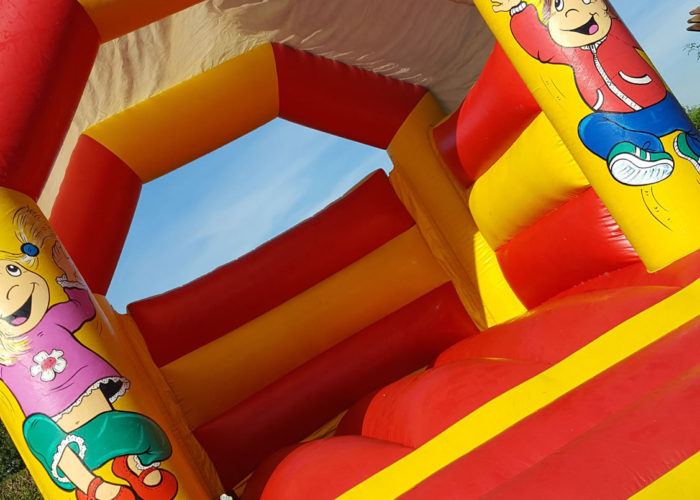 red yellow bouncy castle